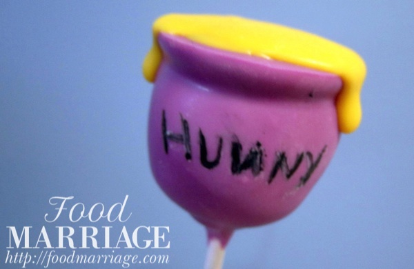 Winnie the Pooh Honey Hunny Pot Cake Pops @FoodMarriage