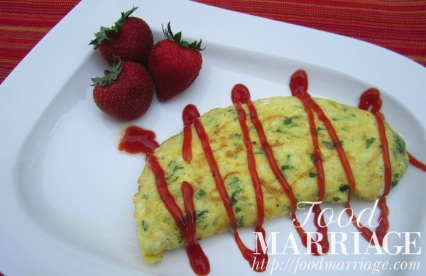 Omelette Recipe with Cheddar and Parsley @FoodMarriage