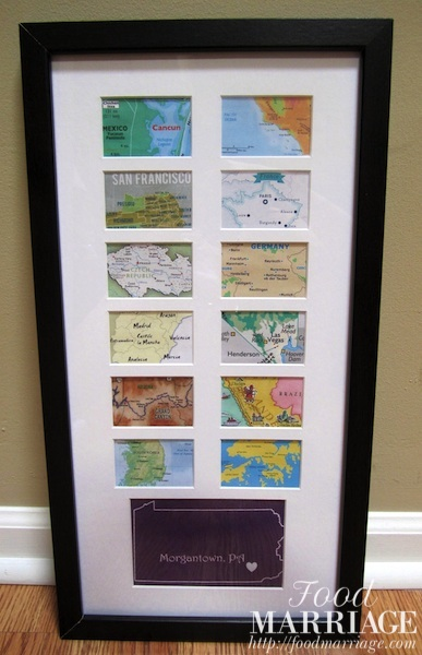 map collage frame gift idea