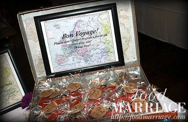 travel themed bridal shower idea bon voyage sign for suitcase shaped cookie favors