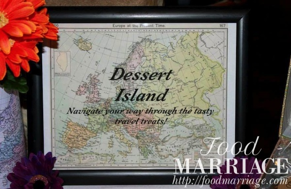 travel themed bridal shower idea dessert island sign for dessert table foodmarriage