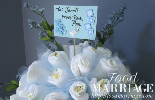 Diaper Bouquet for a Boy @FoodMarriage