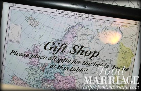 """Travel Themed Bridal Shower Idea - """"Gift Shop"""" sign for Gift Table @FoodMarriage"""