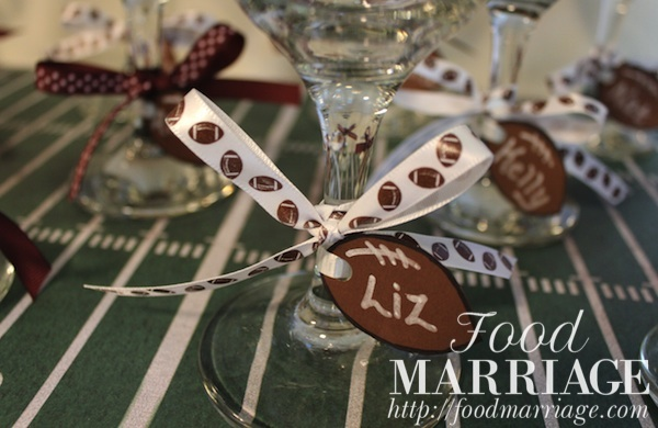 Girls Fantasy Football Draft Party: Wine Glass Charms @FoodMarriage