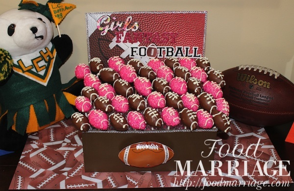 Girls Fantasy Football Draft Party: Pink Glitter Football Cake Pops @FoodMarriage