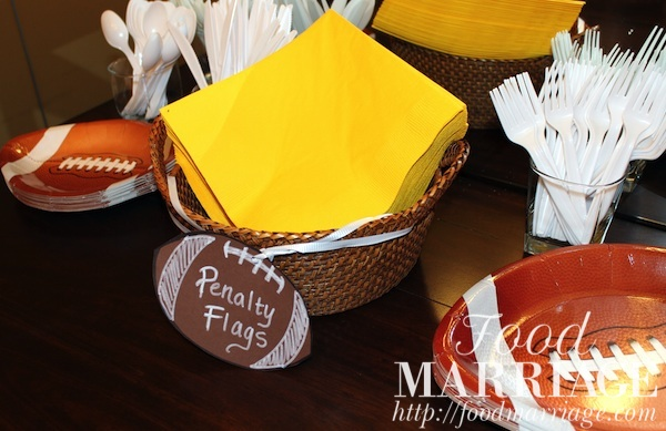 Girls Fantasy Football Draft Party: Yellow Penalty Flags aka Napkins @FoodMarriage