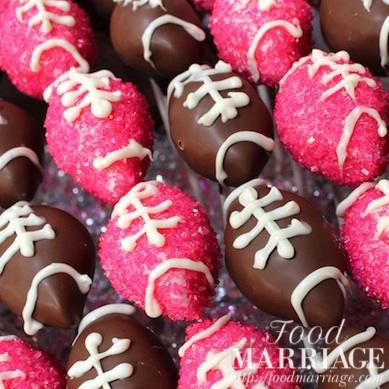 Pink Glitter Football Cake Pops
