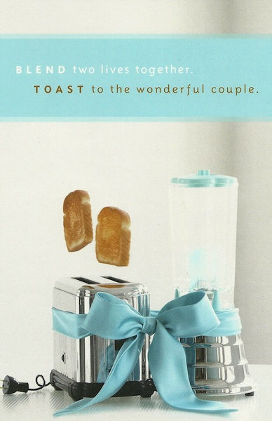 Bridal Shower Card: Blend two lives together; Toast to the wonderful Couple @FoodMarriage