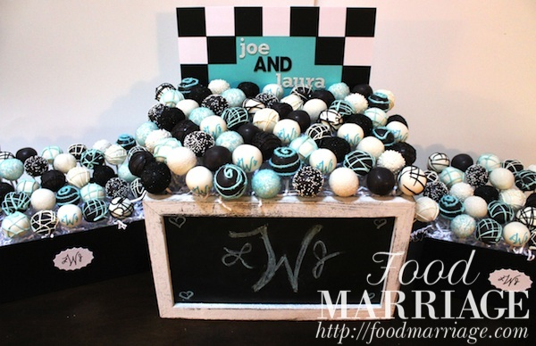 Congress Hall Themed Cake Pops (Black and White with Tiffany Blue Accents) for a Rehearsal Dinner @FoodMarriage