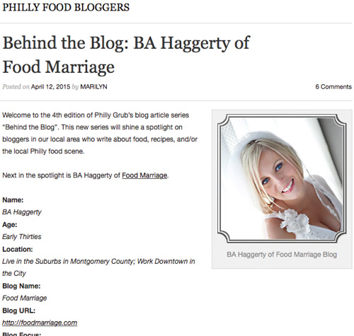 Philadelphia Food Blog - Behind the Blog- BA Haggerty of Food Marriage