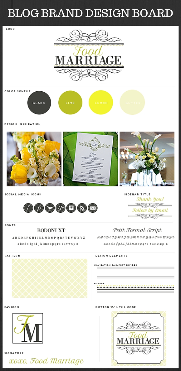 Blog Design and Brand Board Inspiration for FoodMarriage.com Blog - A Blog about Being Married, Having Fun, Loving Life, and Loving Food