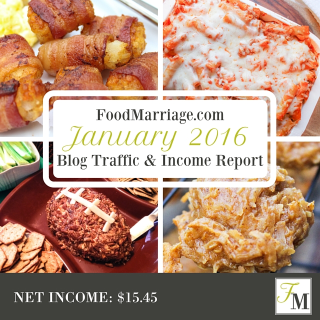 Food Blog Income Report - January 2016 | FoodMarriage.com